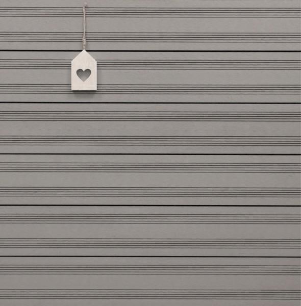 WPC Terrassendielen massiv, Oberfläche mit französischem Profil, Farbton hellgrau, Vollprofil, 22 x 143 bis 4800 mm für 9,50 €/lfm