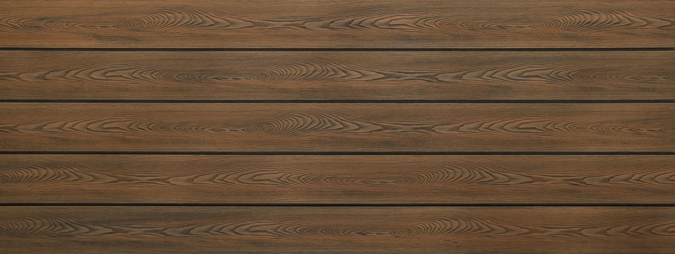 WPC Terrassendielen massiv, Oberfläche mit Struktur in Holzoptik, bicolor im Farbton Thermoeiche, Vollprofil, 22 x 143 bis 4800 mm für 8,40 €/lfm