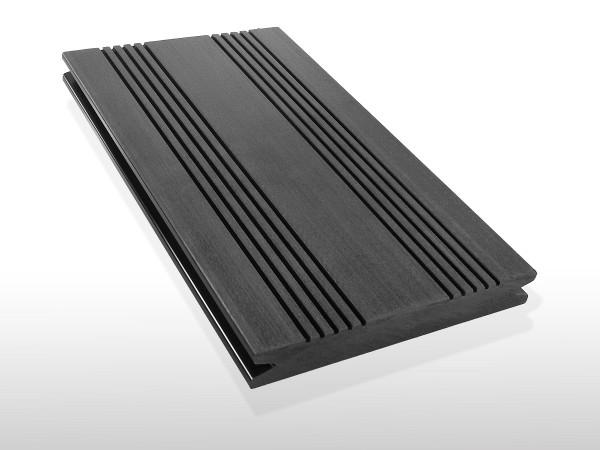 WPC Terrassendielen massiv, Oberfläche mit französischem Profil, Farbton dunkelgrau, Vollprofil, 22 x 143 bis 4800 mm für 7,90 €/lfm