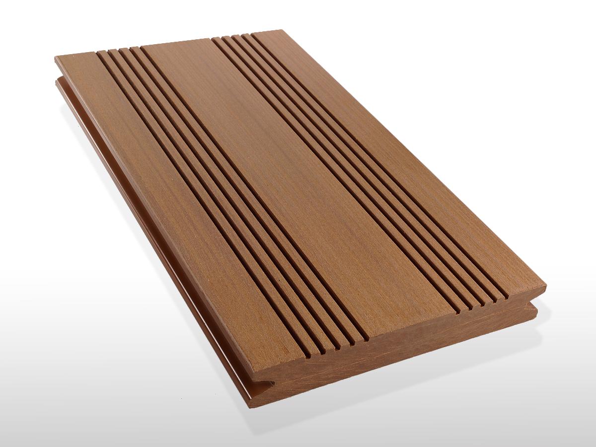 WPC Terrassendielen massiv, Oberfläche mit französischem Profil, Farbton hellbraun, 22 x 143 bis 4800 mm für 7,90 €/lfm