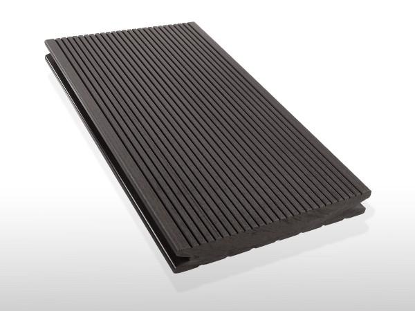WPC Terrassendielen massiv, Oberfläche fein gerillt, Farbton dunkelgrau, Vollprofil, 22 x 143 bis 4800 mm für 7,90 €/lfm
