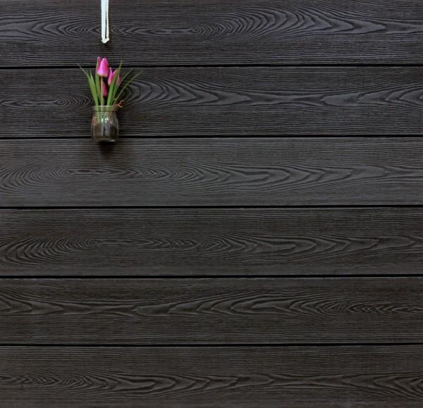 WPC Terrassendielen massiv, Oberfläche mit Struktur in Holzoptik, Farbton anthrazit, Vollprofil, 22 x 143 bis 4800 mm für 7,99 €/lfm