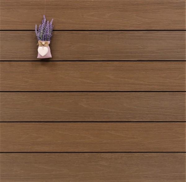 WPC Terrassendielen Terra, ummantelt, massiv, Premium, Oberfläche mit Struktur in Holzoptik, Farbton dunkelbraun, Vollprofil, 22 x 143 bis 4800 mm für 10,40 €/lfm