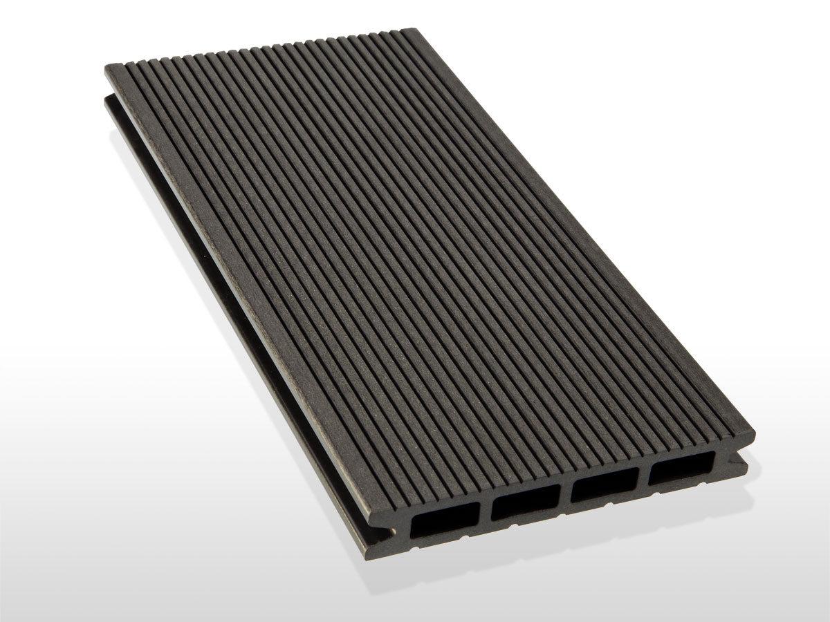 WPC Terrassendielen Hohlkammer, Oberfläche fein gerillt, Farbton dunkelgrau, 22 x 146 bis 4800 mm für 5,30 €/lfm