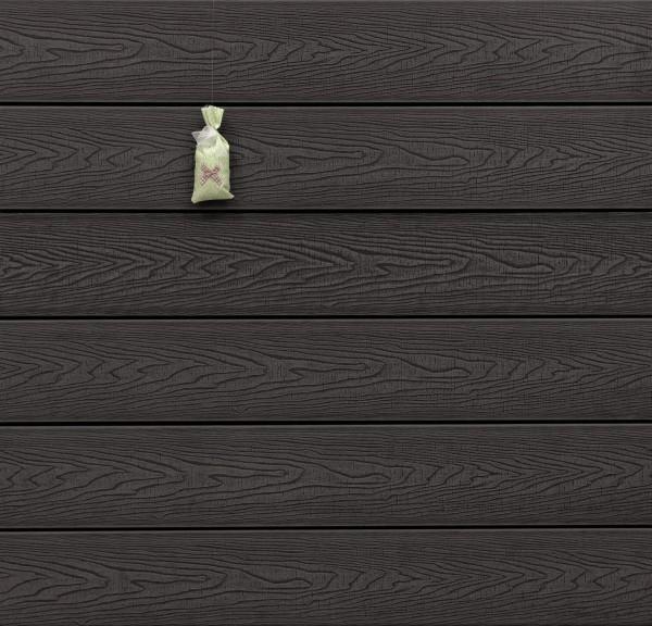 WPC Massivdiele, Oberfläche mit Struktur in Holzoptik sägerau, Farbton dunkelgrau, Vollprofil, 22 x 143 bis 4800 mm für 9,20 €/lfm