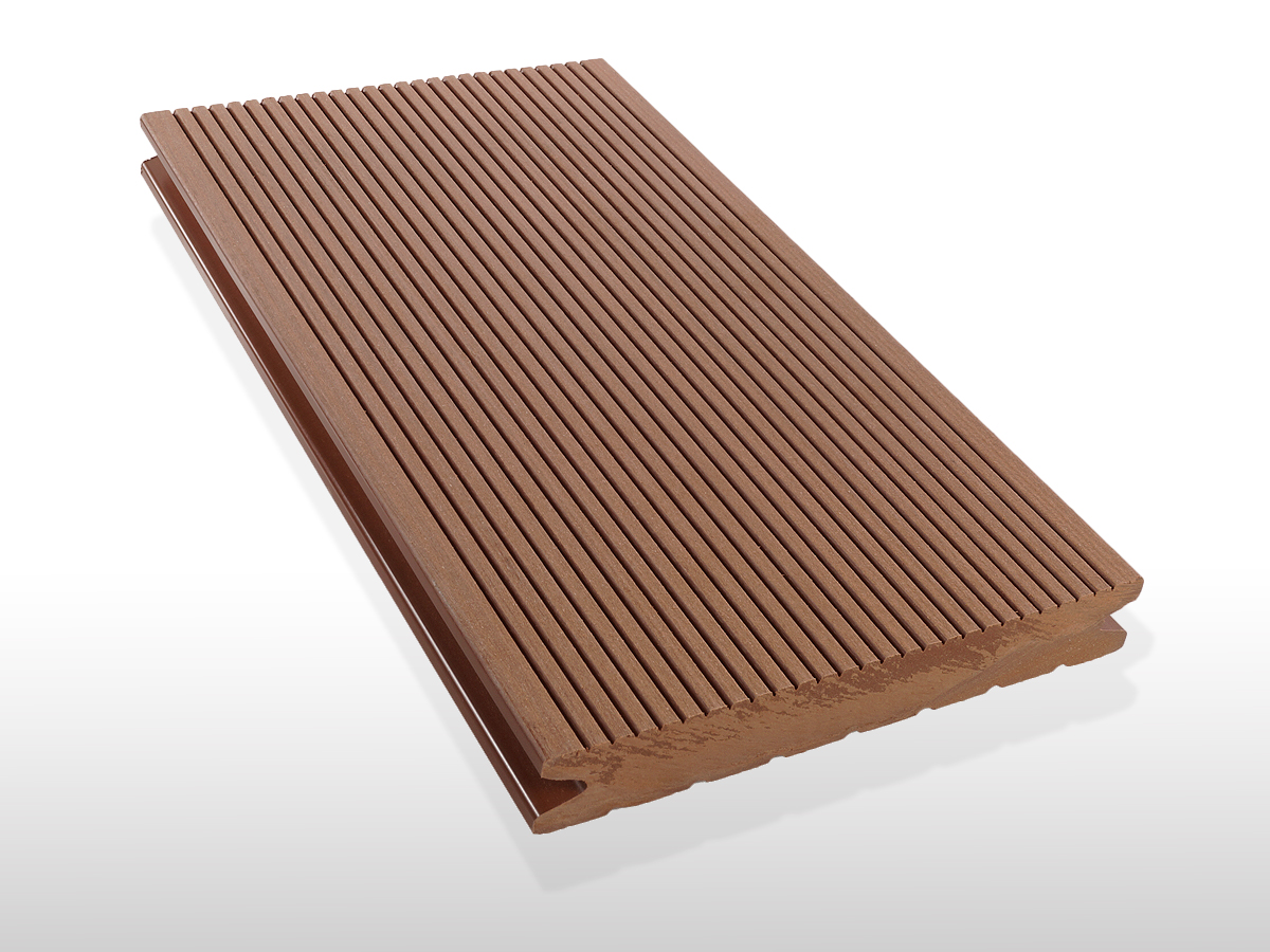 WPC Terrassendielen massiv, Oberfläche fein gerillt, Farbton hellbraun, 22 x 143 bis 4800 mm für 7,90 €/lfm
