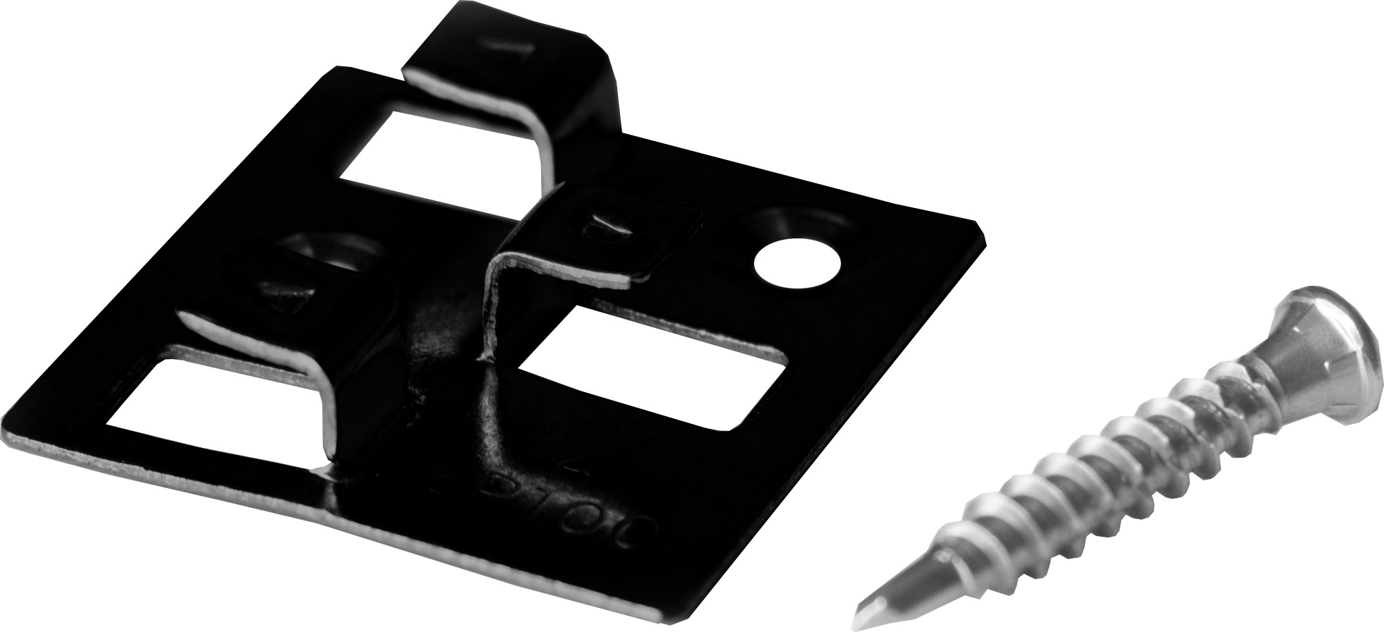 100 WPC Montage Clips mit 4 mm Fuge aus Edelstahl von MEFO, schwarz, inkl. selbstbohrenden Schrauben, Montagematerial reicht für ca. 35 lfm bzw. 5 m²