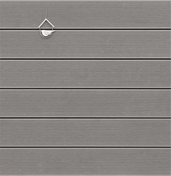 WPC Terrassendiele massiv, Oberfläche fein gerillt, Farbton hellgrau, Vollprofil, 22 x 143 bis 4800 mm für 8,95 €/lfm