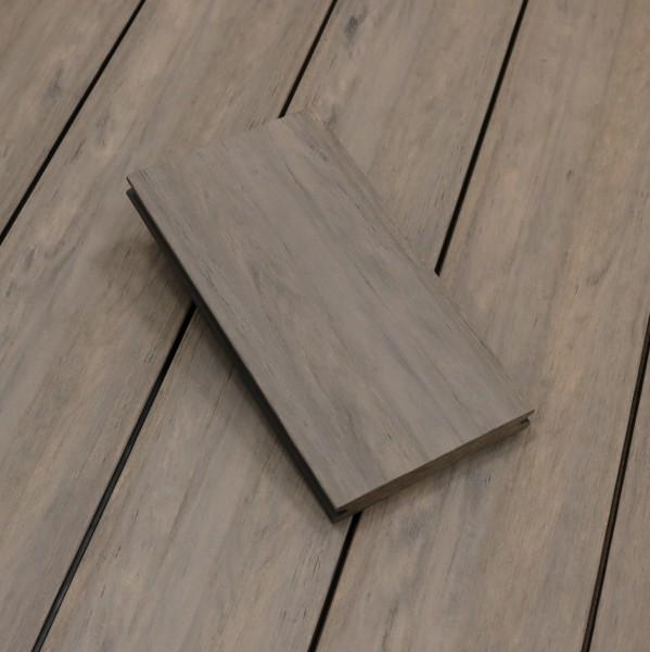WPC Terrassendielen massiv, Oberfläche antik gealtert, Farbton sand, Vollprofil, 22 x 143 bis 4800 mm für 8,40 €/lfm