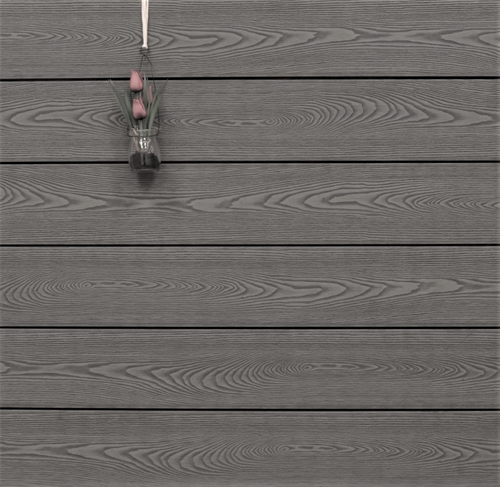 WPC Terrassendielen massiv, Oberfläche mit Struktur in Holzoptik, Farbton grau, Vollprofil, 22 x 143 bis 4800 mm für 7,99 €/lfm