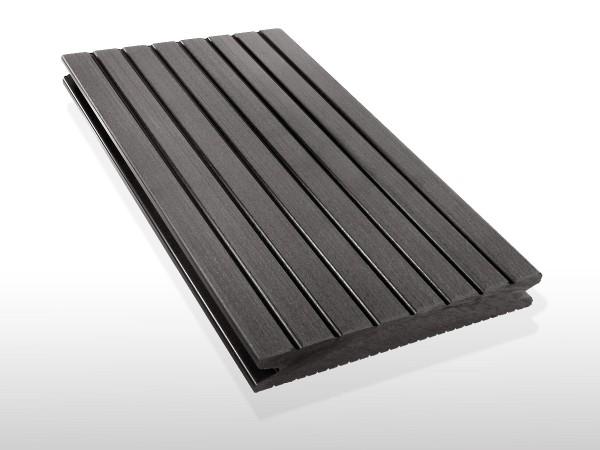 WPC Terrassendielen massiv, Oberfläche grob genutet, Farbton dunkelgrau, Vollprofil, 22 x 143 bis 4800 mm für 7,90 €/lfm