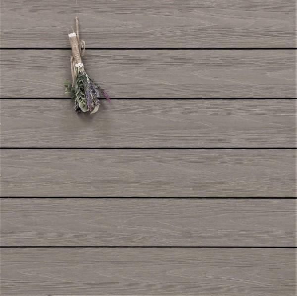 WPC Terrassendielen Tessera, ummantelt, massiv, Premium, Oberfläche mit Struktur in Holzoptik, Farbton grau, Vollprofil, 22 x 143 bis 4800 mm für 10,40 €/lfm