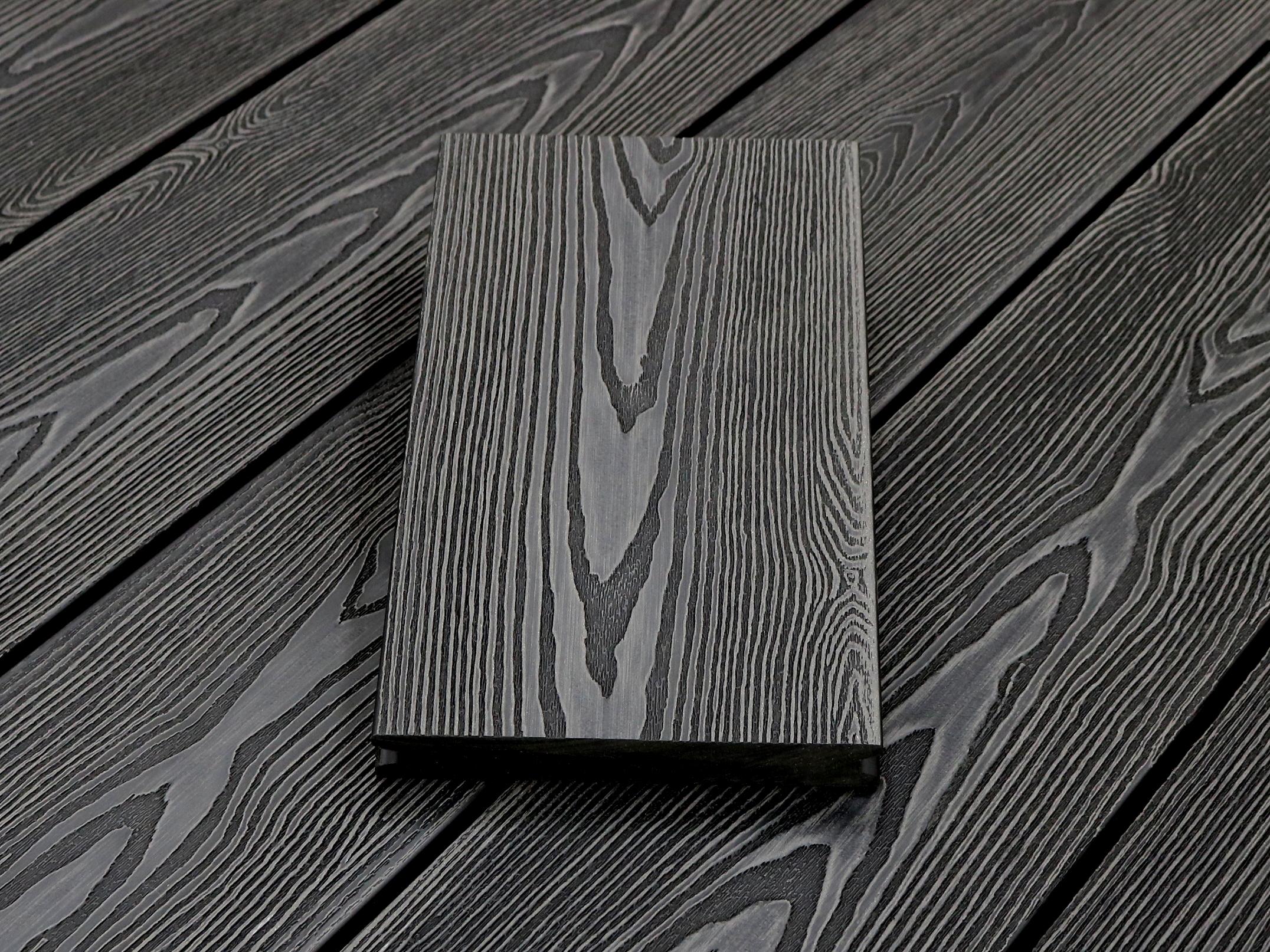 WPC Terrassendielen massiv, Oberfläche mit 3D Struktur in Holzoptik, Farbton dunkelgrau, Vollprofil, 22 x 143 bis 4800 mm für 7,95 €/lfm