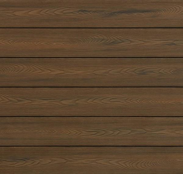 WPC Terrassendielen massiv, Oberfläche mit Struktur in Holzoptik, bicolor im Farbton Thermoeiche, Vollprofil, 22 x 143 bis 4800 mm für 9,90 €/lfm