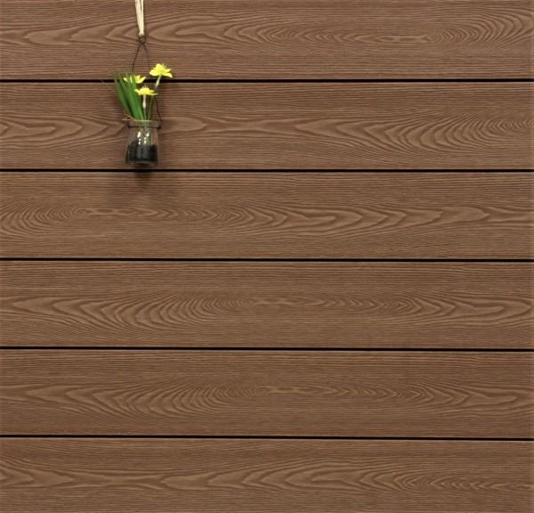 WPC Terrassendielen massiv, Oberfläche mit Struktur in Holzoptik, Farbton braun, Vollprofil, 22 x 143 bis 4800 mm für 7,99 €/lfm