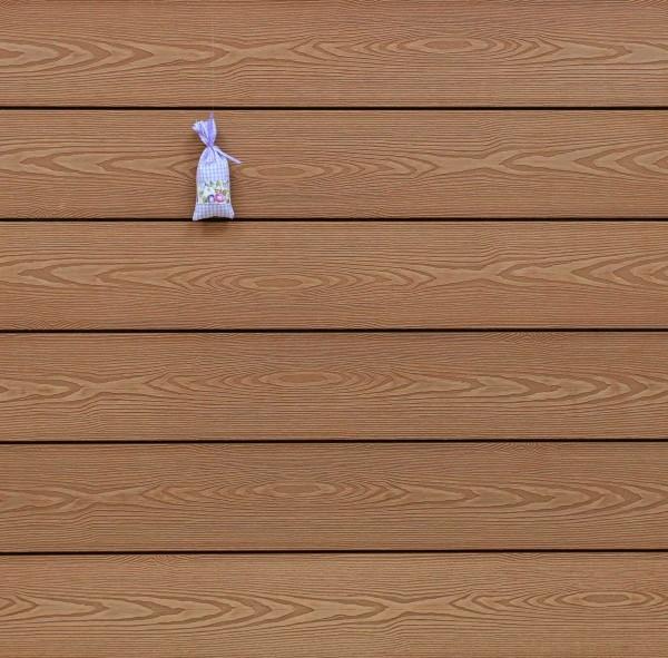 WPC Terrassendielen massiv, Oberfläche mit 3D Struktur in Holzoptik, Farbton hellbraun, Vollprofil, 22 x 143 bis 4800 mm für 9,50 €/lfm