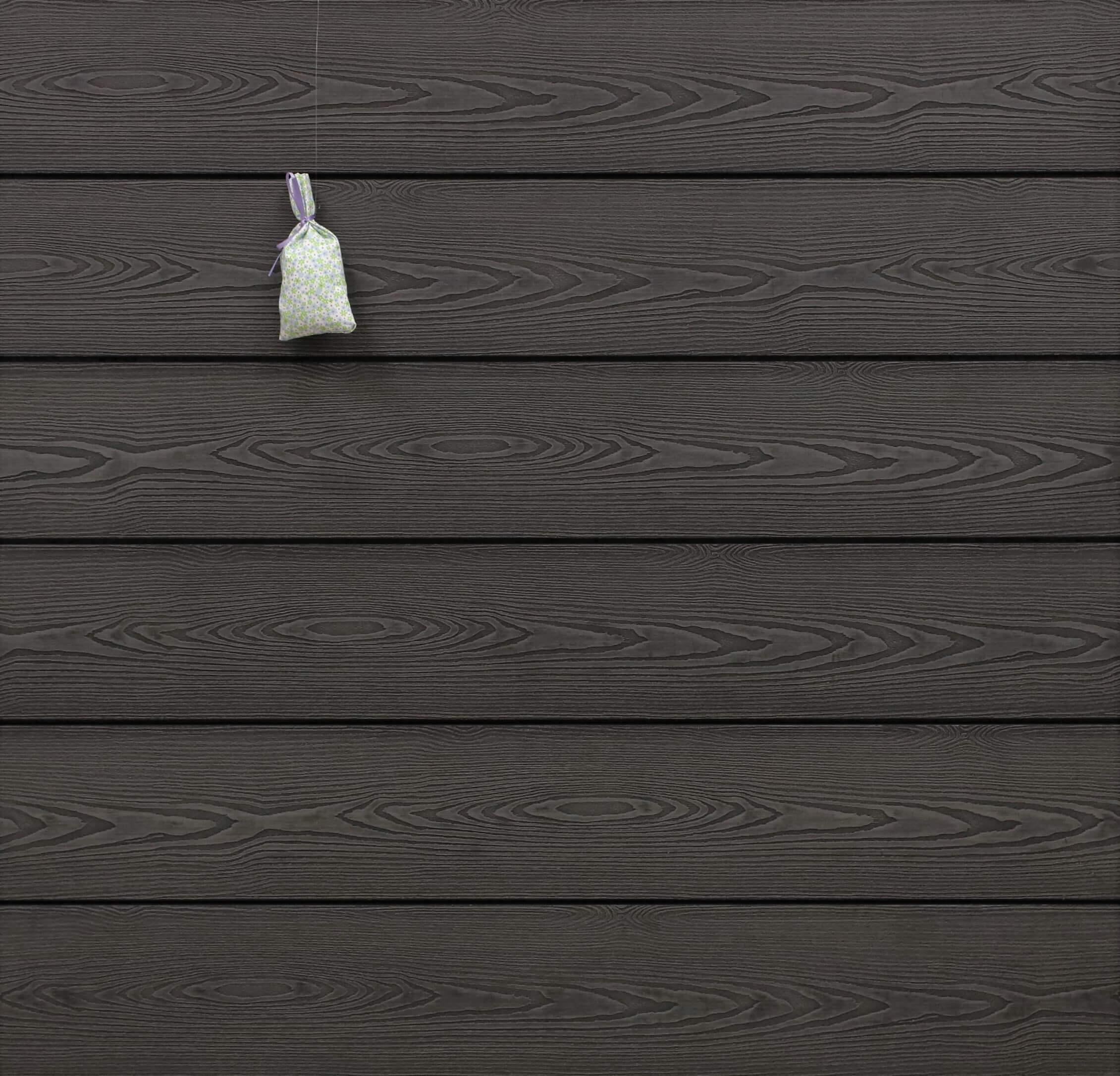 WPC Terrassendielen massiv, Oberfläche mit 3D Struktur in Holzoptik, Farbton dunkelgrau, Vollprofil, 22 x 143 bis 4800 mm für 9,50 €/lfm