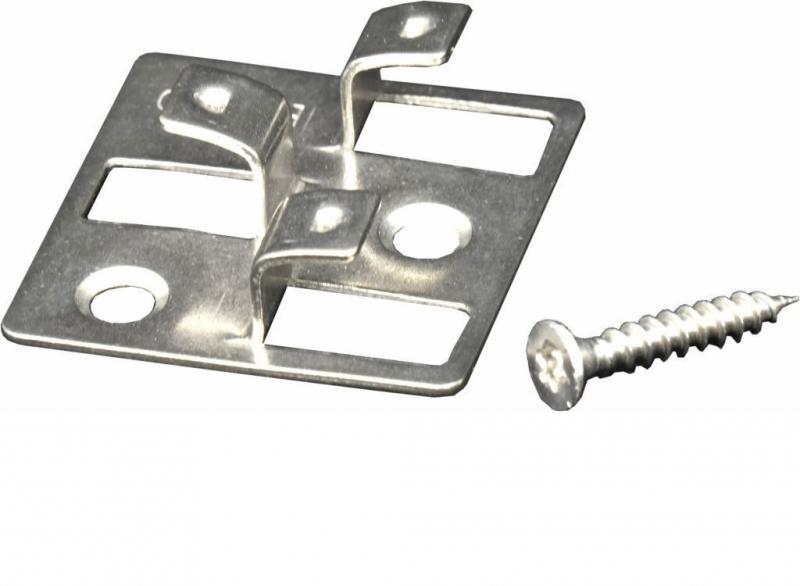 WPC Befestigungsclips 4 mm aus Edelstahl, Verpackung mit 100 Stück inkl. Schrauben, ausreichend für ca. 5 m² bzw. 35 lfm