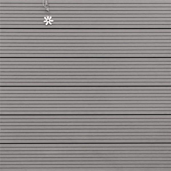 WPC Diele massiv, Oberfläche grob genutet, Farbton hellgrau, Vollprofil, 22 x 143 bis 4800 mm für 8,95 €/lfm