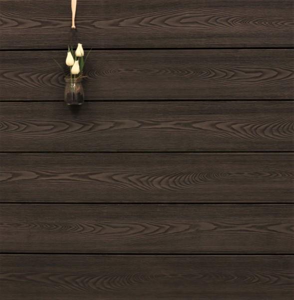 WPC Terrassendielen massiv, Oberfläche mit Struktur in Holzoptik, bicolor im Farbton Thermoesche, Vollprofil, 22 x 143 bis 4800 mm für 9,90 €/lfm