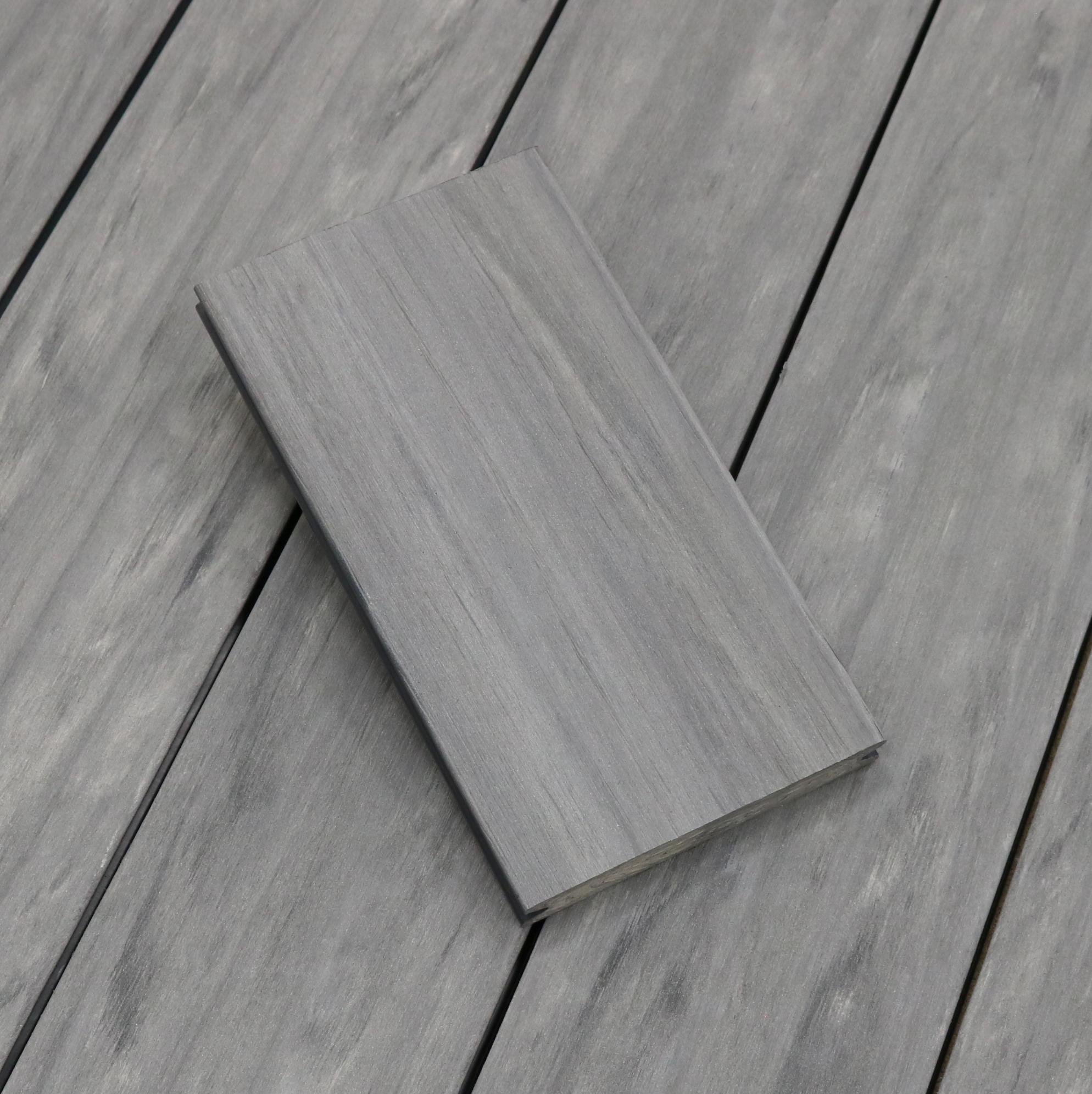 WPC Terrassendielen massiv, Oberfläche antik gealtert, Farbton steingrau, Vollprofil, 22 x 143 bis 4800 mm für 8,40 €/lfm