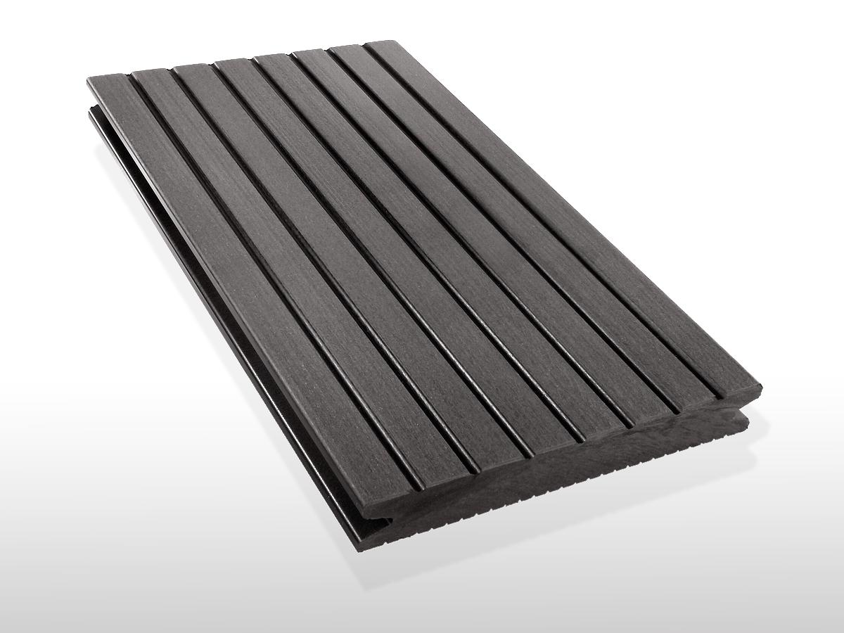 WPC Terrassendielen massiv, Oberfläche grob genutet, Farbton dunkelgrau, 22 x 143 bis 4800 mm für 7,90 €/lfm