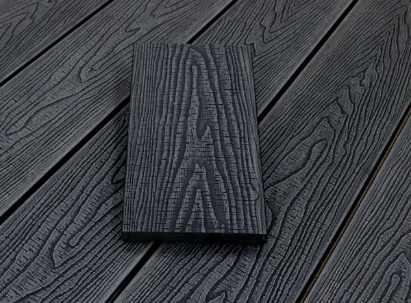 WPC Terrassendielen massiv, Oberfläche mit Struktur in Holzoptik sägerau, Farbton dunkelgrau, Vollprofil, 22 x 143 bis 4800 mm für 7,95 €/lfm